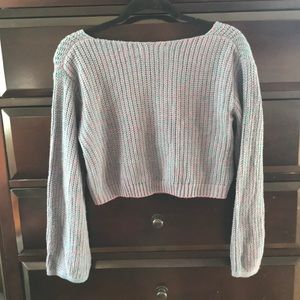 Rubbish Sweaters - Rubbish Blue and Purple Marled Crop Sweater Sz XS